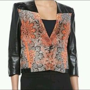 Helmut Lang Leather blazer with print